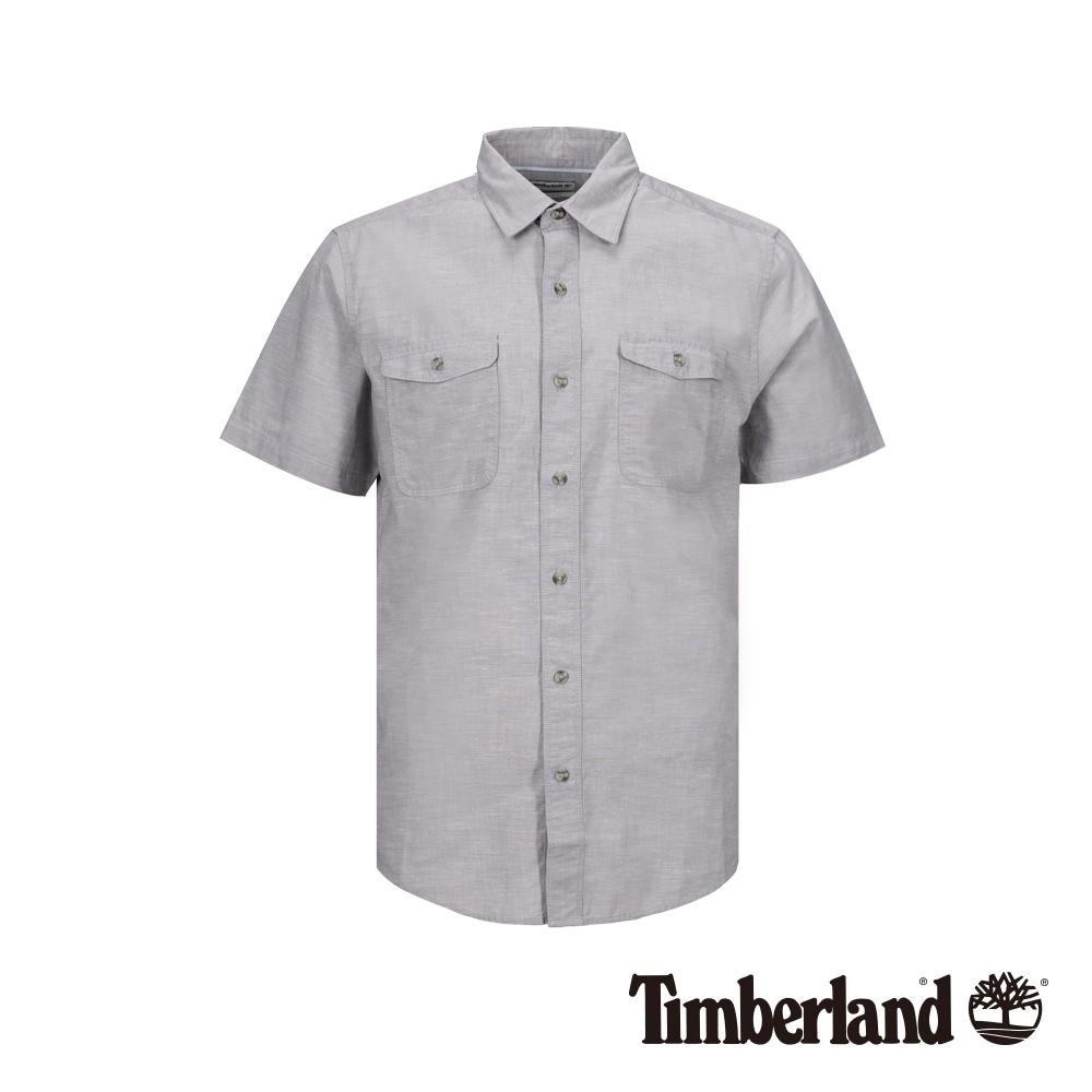 Timberland 男款淡麻灰短袖襯衫|A1VUW