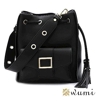 WuMi 無米 維多莉亞束口水桶包 時尚黑