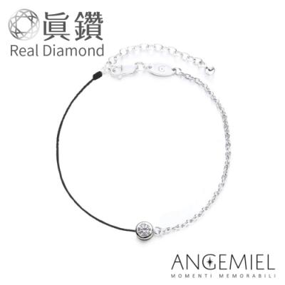 Angemiel安婕米 鑽石幸運半紅繩手鍊-永恆(銀)(黑)