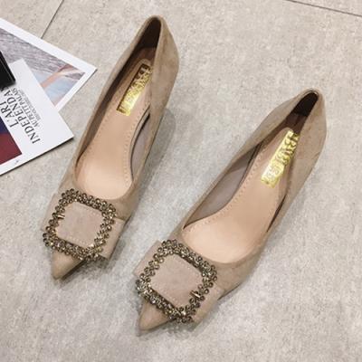KEITH-WILL時尚鞋館 OL風好感吸晴尖頭細跟鞋-米