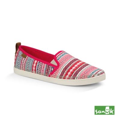 SANUK 女款 US6 美國設計Valdese Weavers編織休閒鞋(桃紅色)