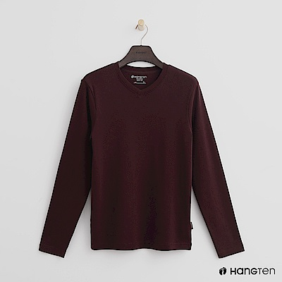 Hang Ten - 男裝 - 柔軟素面小V領上衣 - 紅