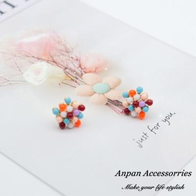 【ANPAN愛扮】韓東大門泫雅少女粉彩花球925銀針耳釘式耳環