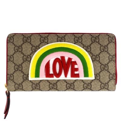 GUCCI LOVE 刺繡彩虹標誌防水帆布拉鍊長夾