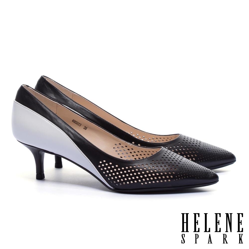 高跟鞋 HELENE SPARK 氣質高雅鏤空跳色真皮尖頭高跟鞋-黑