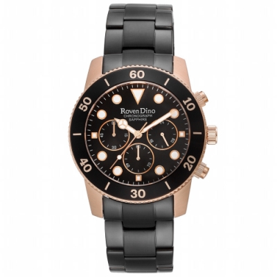 Roven Dino羅梵迪諾 歐風獨特三眼腕錶-黑(RD779BRG-398)/42mm