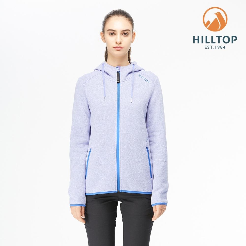 【hilltop山頂鳥】女款POLYGIENE抗菌保暖連帽刷毛外套H22FW4長春花紫麻花