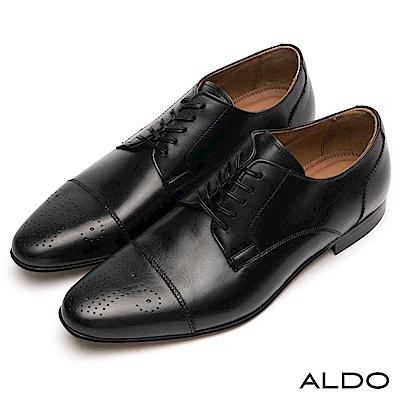 ALDO 原色真皮幾何雕花鋸齒波浪車線綁帶式皮鞋~尊爵黑色