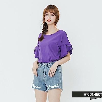 H:CONNECT 韓國品牌 女裝-荷葉袖造型上衣-紫
