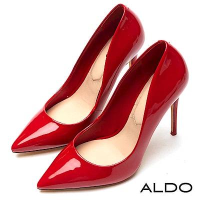 ALDO 原色佐羊皮鞋墊亮面尖頭細高跟鞋~性感紅色