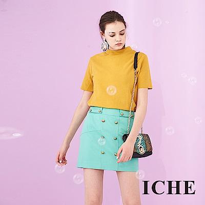ICHE 衣哲 雙排釦設計馬卡龍系鉛筆造型挺版百搭短裙-綠
