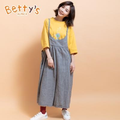 betty's貝蒂思 韓系休閒寬版吊帶褲(黑白格)