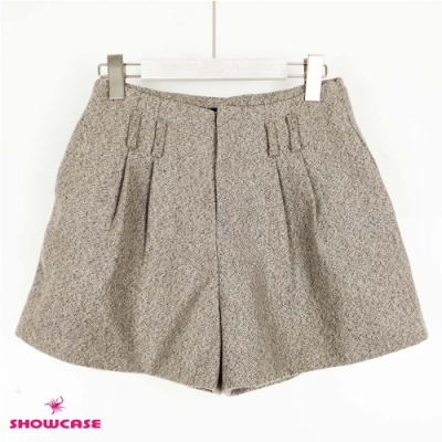 【SHOWCASE】時尚厚磅高腰雙褶寬口褲裙-卡其色