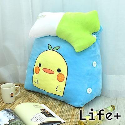 Life Plus 萌趣造型舒壓絨毛萬用靠枕/抱枕/腰靠枕 (小雞)