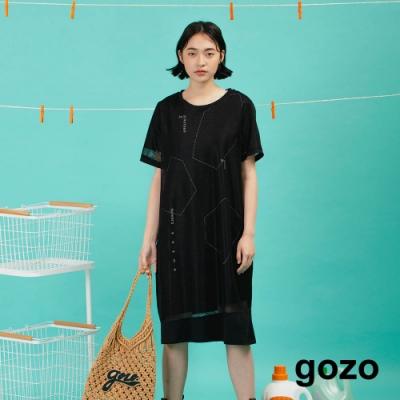 gozo-假兩件網布洋裝(黑色)