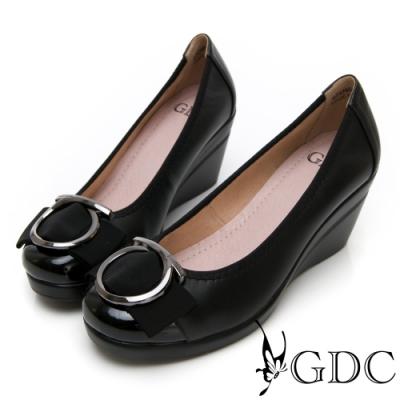 GDC-真皮基本素色上班蝴蝶結楔型鞋-黑色