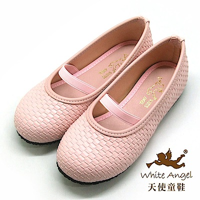 天使童鞋 仿編織素色公主鞋(中-大童)J918-粉