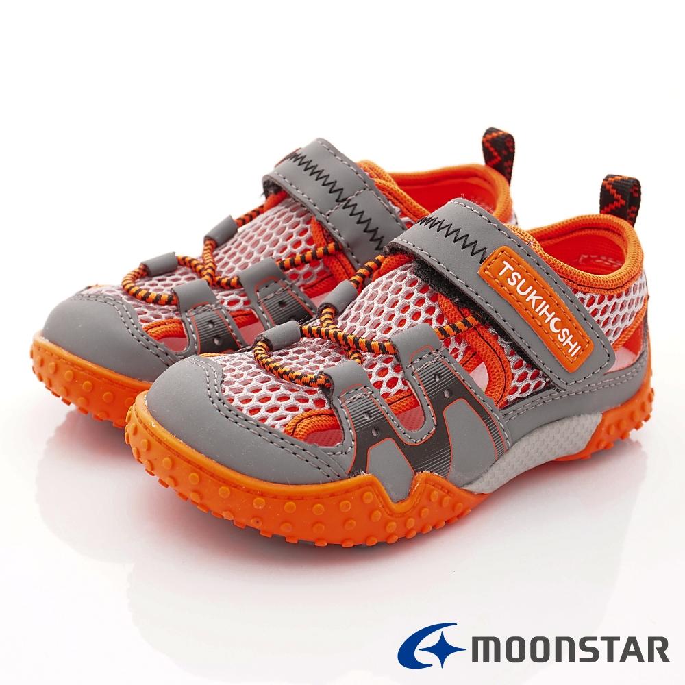 日本月星頂級童鞋 2E護趾輕量涼鞋款 19AB2橘(中小童段)