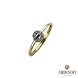 amoon 浪漫雙子星系列 穿越時空 K金鑽石戒指