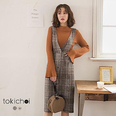 東京著衣 知性女孩大雙V領排釦格紋背心裙-S.M.L(共二色)