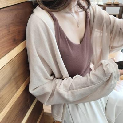 La Belleza素面開釦蝙蝠袖燈籠縮口袖薄針織外套