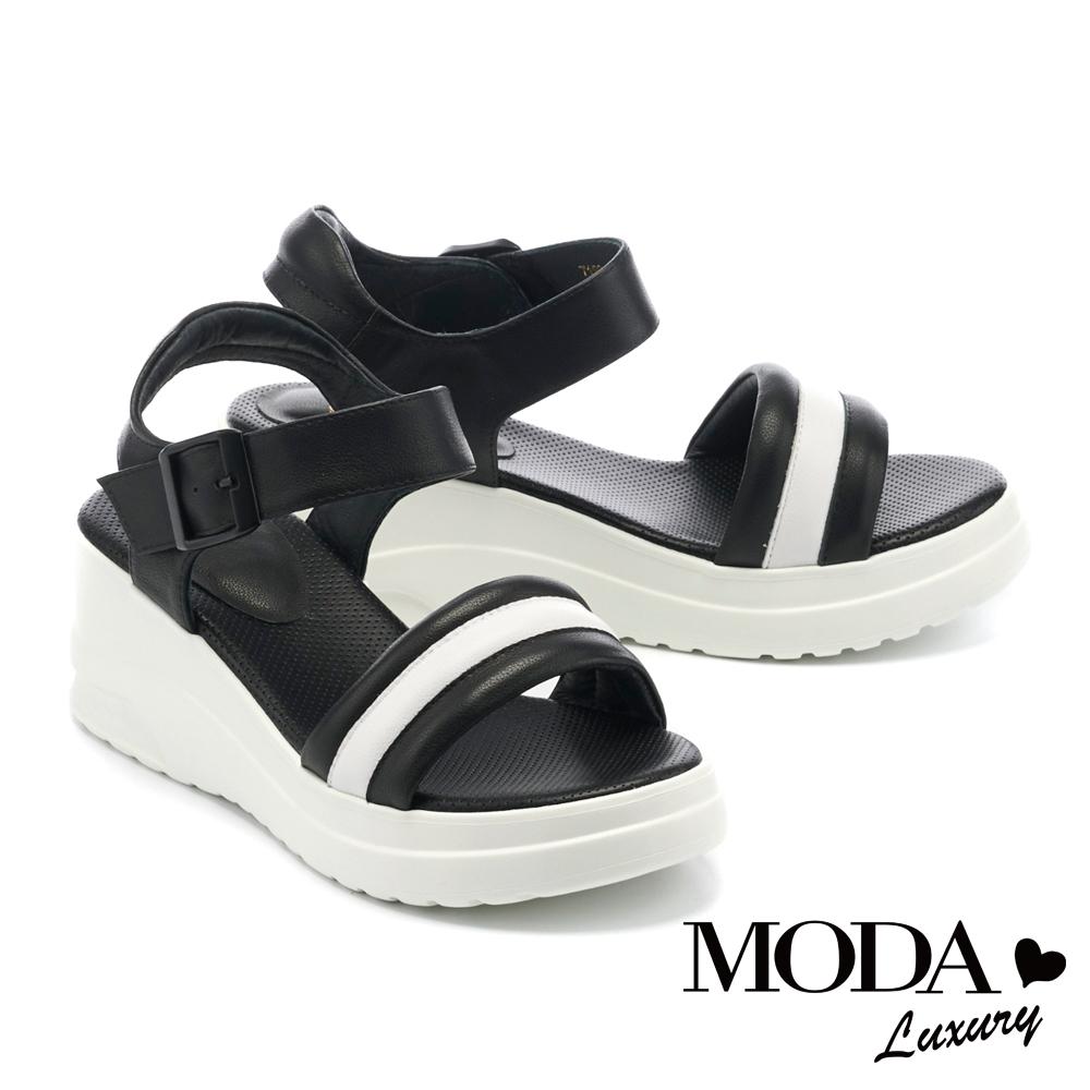 涼鞋 MODA Luxury 潮感個性休閒撞色牛皮厚底涼鞋-黑