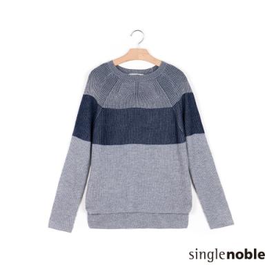 獨身貴族 潮流觀點直織紋側開衩針織衫(2色)