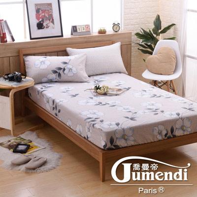 喬曼帝Jumendi 台灣製活性柔絲絨加大三件式床包組-花香迷情