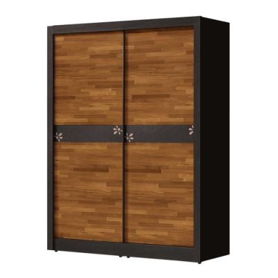 文創集 比德5尺多功能推門衣櫃(吊衣桿+三抽屜+內開放層格)-149x60x202免組