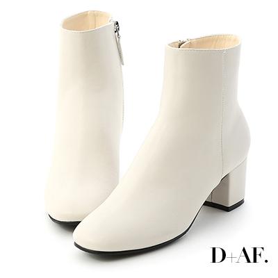 D+AF 簡約調性.素面方頭中跟短靴*白