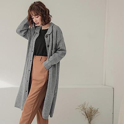 純色琥珀排釦襯衫領針織長袖洋裝/外套-OB嚴選