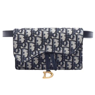 Dior Saddle系列經典OBLIQUE緹花布小牛皮飾邊磁釦腰包(藍)