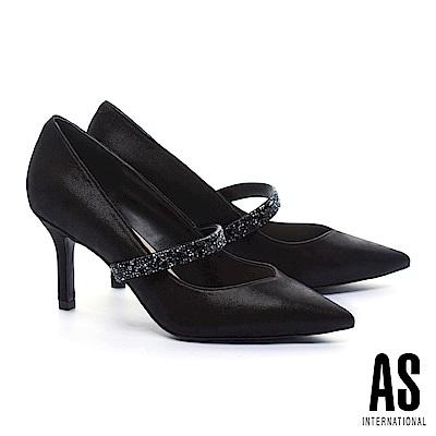 高跟鞋 AS 優雅內斂水晶繫帶金屬布紋羊皮美型尖頭高跟鞋-黑
