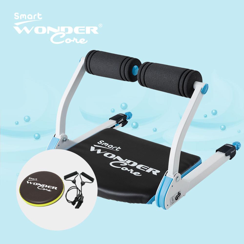 Wonder Core Smart 全能輕巧健身機超值三件組(糖霜藍+扭腰盤-綠+拉力繩)