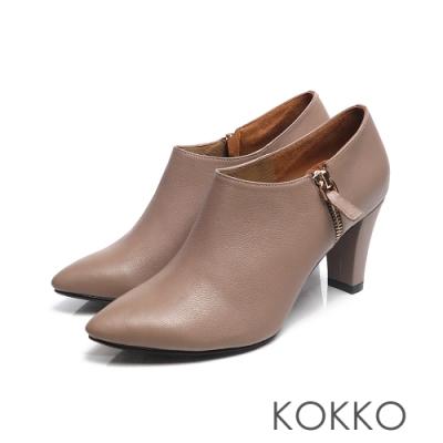 KOKKO -經典尖頭顯瘦感扁跟真皮踝靴 - 奶茶咖