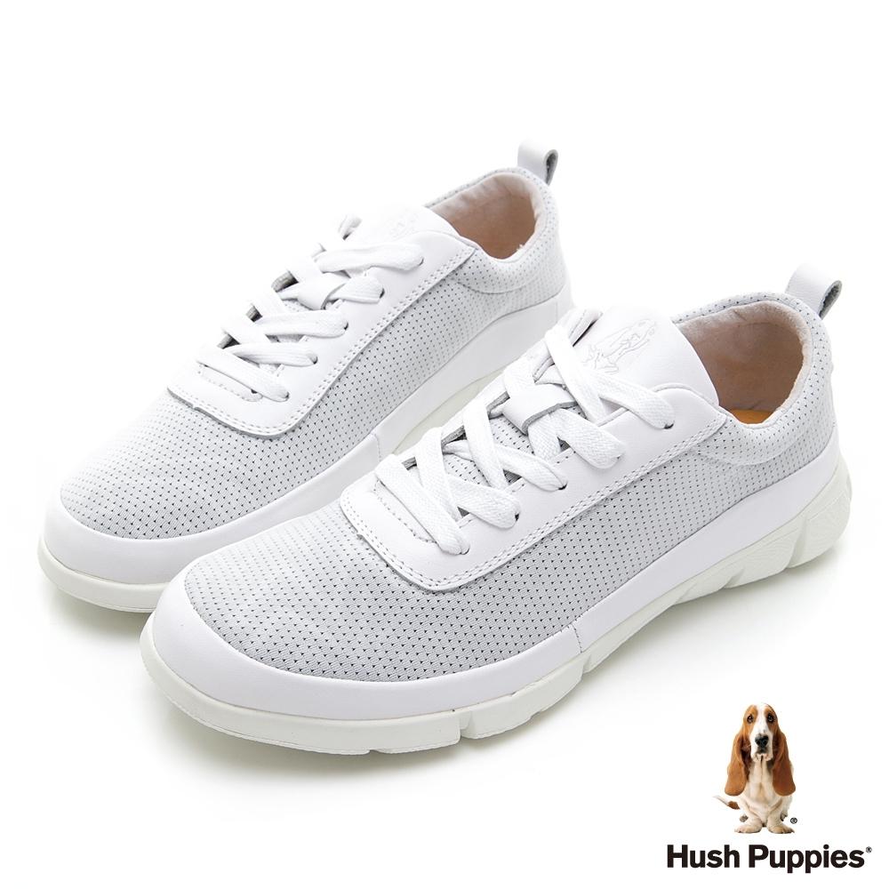 Hush Puppies 率性拼接透氣健步鞋-白
