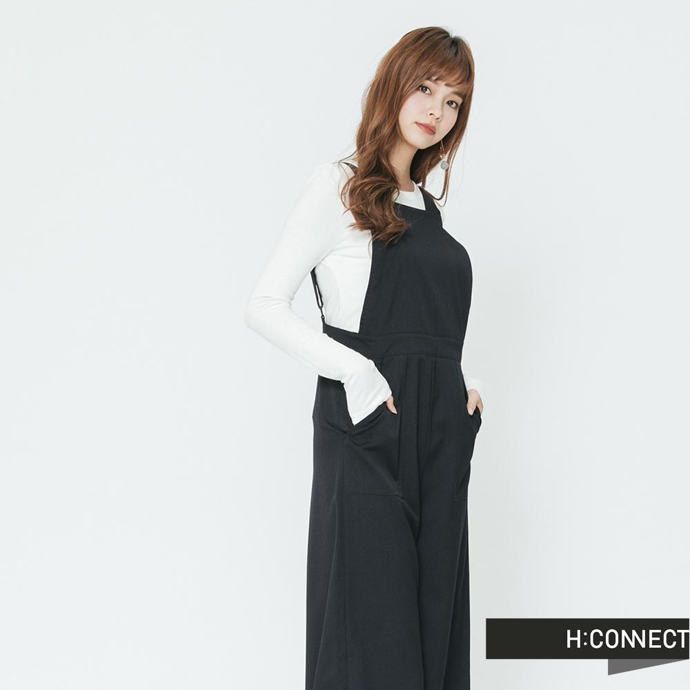 H:CONNECT 韓國品牌 女裝-吊帶連身直筒寬褲-藍