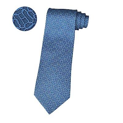 HERMES愛馬仕LONGES經典緹花LOGO幾何圖形設計蠶絲領帶(海洋藍x藍)