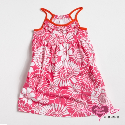 【天使霓裳-童裝】粉花魅力 可愛無袖細肩帶小洋裝(桃)