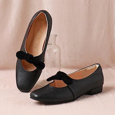 台灣製造.異材質蝴蝶結瑪莉珍娃娃包鞋-OB大尺碼