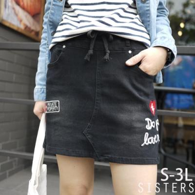街拍款字母電繡牛仔褲裙(S-3L) SISTERS