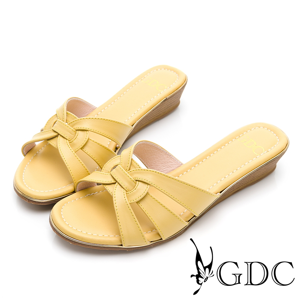GDC-春夏時髦繽紛實穿編織圓頭真皮低跟簍空楔型拖鞋-黃色