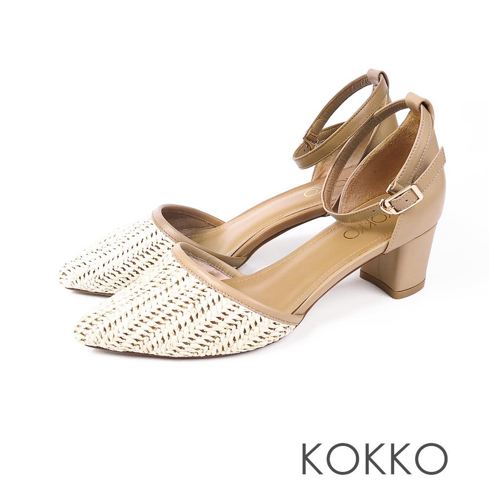 KOKKO - 法式時尚編織踝帶粗跟鞋 - 咖啡牛奶