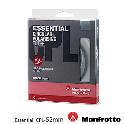 Manfrotto 52mm CPL鏡 Essential 濾鏡系列