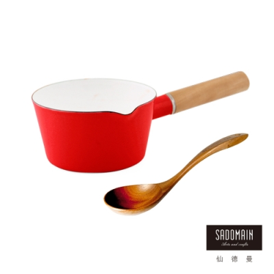 仙德曼 SADOMAIN-琺瑯單柄牛奶鍋15cm(贈原木手工彎杓)