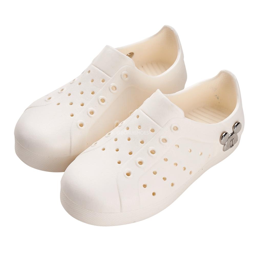 迪士尼童鞋 米奇 造型飾釦防水雙色洞洞鞋-白