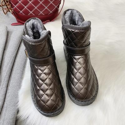 KEITH-WILL時尚鞋館-韓國氣質條紋款拉鍊中筒靴-金屬色