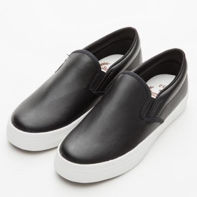 River&Moon休閒鞋 MIT軟Q素面厚底懶人鞋 黑
