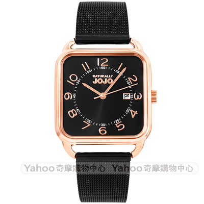 NATURALLY JOJO 簡約魅力米蘭帶方型手錶-黑X玫瑰金/30mm