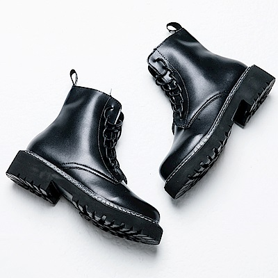 River&Moon短靴-街頭時尚縫線軟皮繫帶厚底軍靴 黑